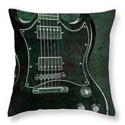 Gibson Sg Standard Green Grunge Throw Pillow