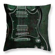 Gibson Sg Standard Green Grunge With Skull Throw Pillow
