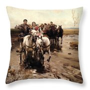 Giddy Up Throw Pillow by Alfred von Wierusz-Kowalski