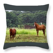 Giddy Up Horsy By Diana Sainz Throw Pillow