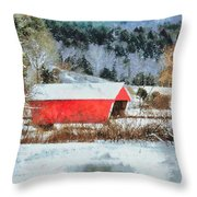 Gifford Covered Bridge In Winter Throw Pillow