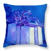 Gift In Blue Throw Pillow