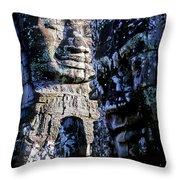 Gigantic Face Statues At Khmer Temple Angkor Wat Ruins Cambodi Throw Pillow