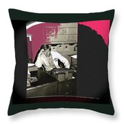 Gil Grant Technical Director Kvoa Tv 1969 Vignetted Color Added Collage 2013 Bob Curzon Photo Throw Pillow