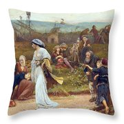 Gilbert A Beckets Troth The Saracen Maiden Entering London At Sundow  Throw Pillow by George John Pinwell