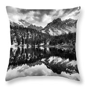 Gilbert Lake And University Peak Throw Pillow