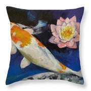 Gin Rin Koi And Water Lily Throw Pillow