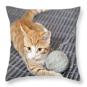 Ginger Cat With Yarn Ball Throw Pillow