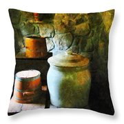 Ginger Jar And Buckets Throw Pillow
