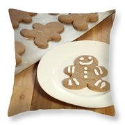 Gingerbread Cookies Throw Pillow by Juli Scalzi