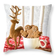 Gingerbread Family At Christmas Throw Pillow