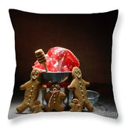 Gingerbread Family Throw Pillow