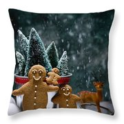 Gingerbread Family In Snow Throw Pillow