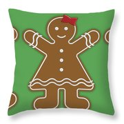 Gingerbread People Throw Pillow