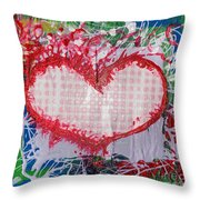 Gingham Crazy Heart Shrink Wrapped Throw Pillow