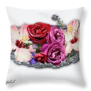 Ginnies Summer Flower Arrangement Throw Pillow