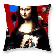 Gioconda Travelling - Usa Throw Pillow