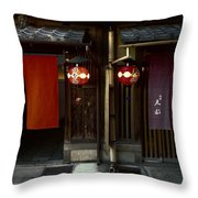 Gion Geisha District Doorways Throw Pillow