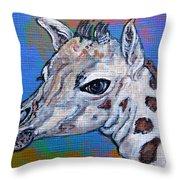 Giraffe - Baby Announcement Throw Pillow by Ella Kaye Dickey