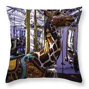 Giraffe Carousel Ride Throw Pillow
