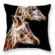 Giraffe Duo Fractal Throw Pillow