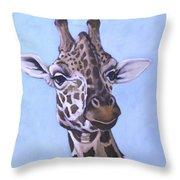 Giraffe Eye To Eye Throw Pillow