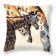 Giraffe Family Throw Pillow