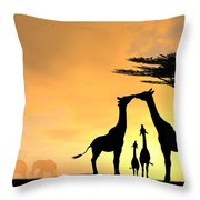 Giraffe Family Love Two Kids Throw Pillow