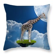 Giraffe Flying High Throw Pillow