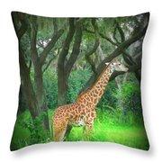 Giraffe In Florida Throw Pillow