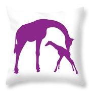 Giraffe In Purple And White Throw Pillow