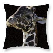 Giraffe In The Morning Pixelated Throw Pillow