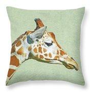 Giraffe Mug Shot Throw Pillow