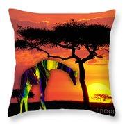 Giraffe Painting Throw Pillow