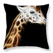 Giraffe Portrait Fractal Throw Pillow