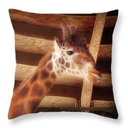 Giraffe Smarty Throw Pillow