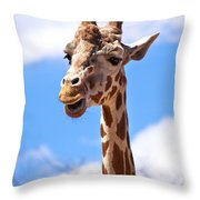 Giraffe Speak Throw Pillow