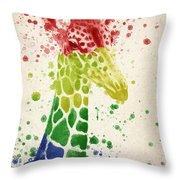 Giraffe Splash Throw Pillow by Aged Pixel