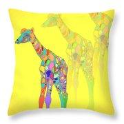 Giraffe X 3 - Yellow Throw Pillow