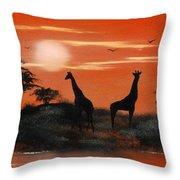 Serengeti Sunset Sold Throw Pillow