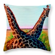 Giraffes Throw Pillow by Donna Proctor