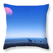 Giraffes On Salt Pans Of Etosha Throw Pillow