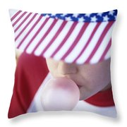 Girl American Baseball Cap Throw Pillow