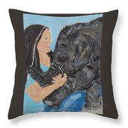 Girl And Baby Elephant Throw Pillow