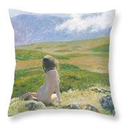 Girl And Cloud Throw Pillow