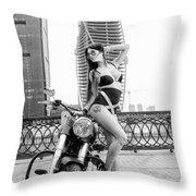 Girl And Harley-davidson Throw Pillow