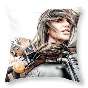 Girl And Harley Throw Pillow