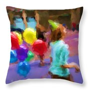 Girl And Her Balloons Throw Pillow