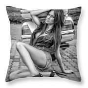 Girl And Honda Black And White Throw Pillow