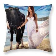 Girl And Horse On Beach Throw Pillow